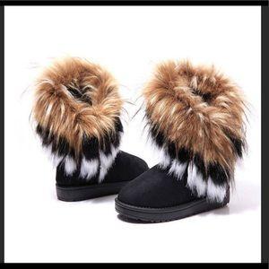 Shoes - Black faux fur trim boots